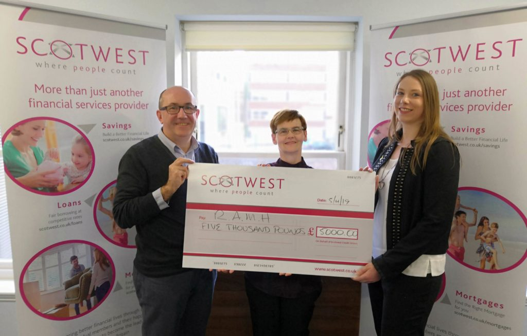 Stephen McLellan of RAMH, Scotwest Member Catherine Graham and Caroline McMichael of the Scotwest Board of Directors